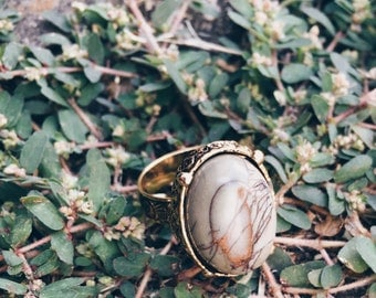 CLEARANCE Jasper Ring - Picasso Jasper Vintage Gold Adjustable Ring - Oval Cameo Style Ring - Natural Stone, Chunky, Statement, Bohemian