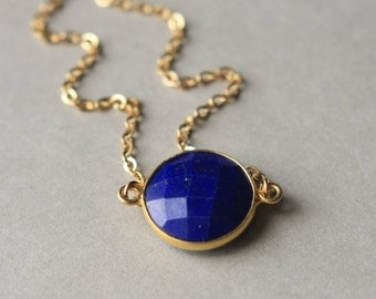 Faceted Lapis Necklace, Gold Lapis Lazuli Necklace, Lapis Jewelry, Lapis Pendant Bezel Set, Gold Chain, Royal Blue Lapis, Gemstone Necklace