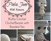 NEW PDF - Blythe Crochet Cloche/Beanie with Beaded Ties Pattern