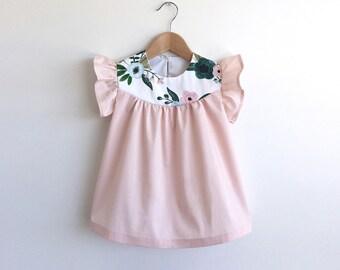 girls petal pink cotton dress with floral detail
