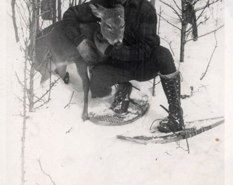 vintage photo 1936 Young Man Holds Dying Deer Doe Died of Starvation