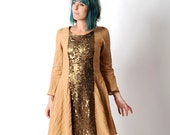 Beige sequined dress, Camel crumpled cotton dress with bronze sequined yokes, size FR 38 / UK 10