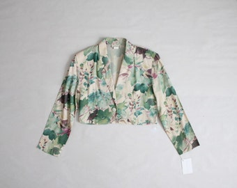 cropped floral jacket | watercolor print | 90s cropped jacket