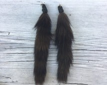 Black Brown Vintage mink fur tail with Victorian crochet & brass loop pendant, keychain, purse RECLAIMED long diy jewelry taxidermy pelt S37