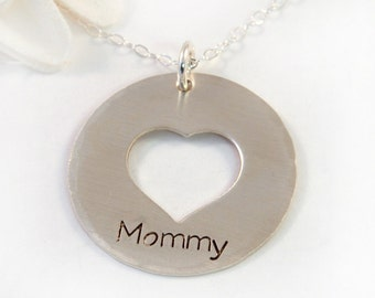 Mommy Necklace - Sterling Silver Mommy Necklace – Mothers Necklace – Heart Cutout – Handstamped Sterling Silver – Gift for Mom