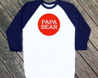 Papa Bear Navy Blue Raglan Sleeve Baseball TShirt with Red print - Father's Day, 4th of July, America, Dad, Pop, Modern Text Tee