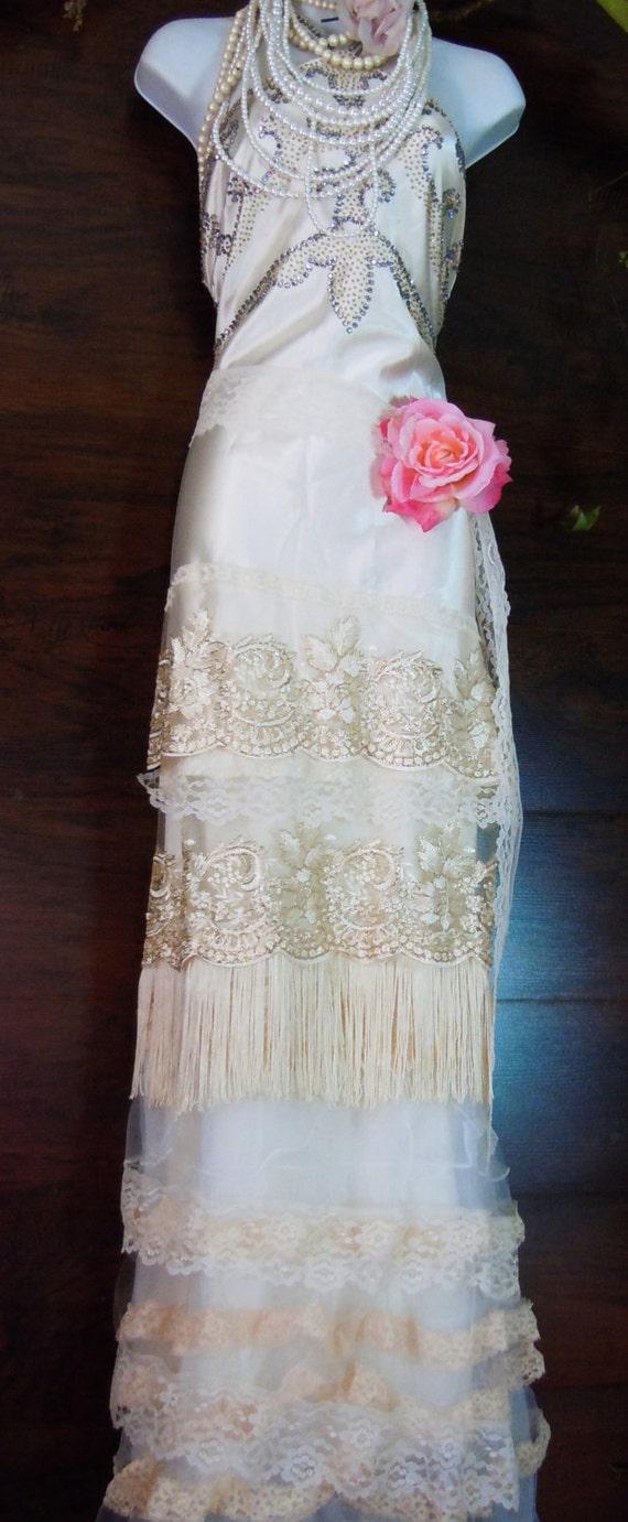 Flapper wedding dress silk beaded ivory gold fringe gatsby 20s for Wedding dress trim beading