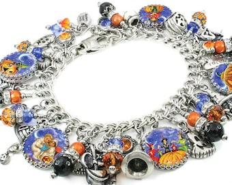 Pumpkin Charm Bracelet, Halloween Jewelry, Halloween Bracelet, Pumpkin Jewelry