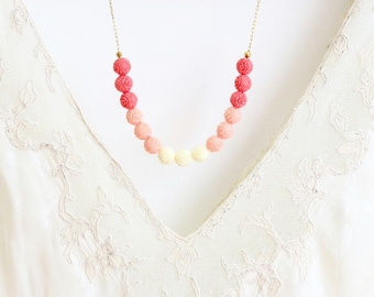 Beaded Ombre Necklace - Strand Necklace - Ombre Necklace - Coral Peach and Ivory Necklace - Feminine and Delicate - Girlfriend Gift