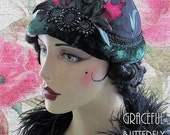 Floral Embroidered Cocktail Hat with Jet Glass Brooch
