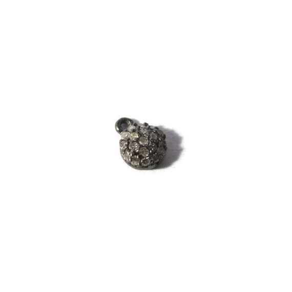 Tiny Diamond Charm, Pave Set Diamond Pendant, .925 Sterling Silver Round Diamond Charm, 7mm Charm for Jewelry (C-Di2)