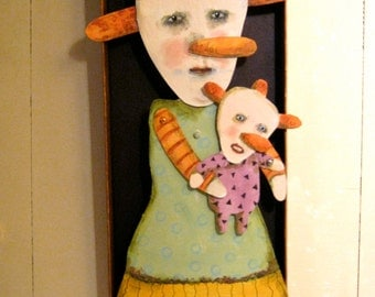 Shadow Box art , sandy mastroni, weird mom and baby, original hand painted- articulated, hand cut