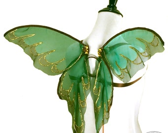 Adele No.4 - Small Fairy Wings in Green and Brown with Gold Glitter