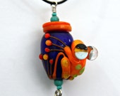 Chip the Orange Handmade Glass Frog Bead Pendant Necklace on Leather