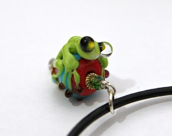 Fergie the Handmade Glass Frog Bead Pendant Necklace in Green and Orange
