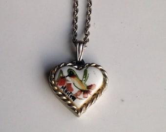 Vintage Hummingbird Necklace, Dainty Necklace, Delicate Necklace, Marlow Necklace, Hummingbird, Flower Necklace