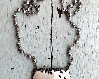 Vintage Mother of Pearl Birds and Flowers Necklace