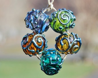 Shimmering Hollows....5 Hollow Decorated Lampwork Beads...K O Lampwork
