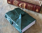 """Leather Journal . """"A book is like a garden carried in the pocket"""" Chinese proverb . handmade handbound . dark teal (320 pgs)"""