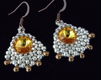 Vintage Style Earrings, Beaded Earrings, Silver Earrings, Rivoli Crystal Earrings, Bridal Earrings, Evening Earrings