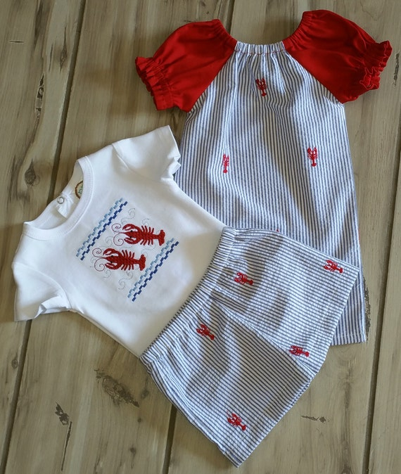 Brother Sister Matching Outfits - Crawfish Sibling Outfits – Twin Outfits – Baby Girl Peasant Dress – Boy Bodysuit or Shirt with Shorts