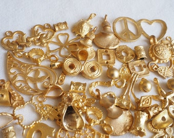 CLEARANCE 65 PCS Mix Lot of Various Gold Plated Charms, Pendants, Findings