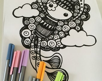 PDF download - Bunny Dream A4 Colouring Doodle