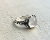 White Moonstone and Sterling Woodland Vine Ring