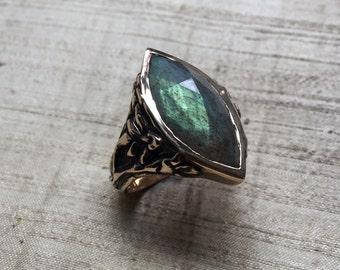 Stargazer Lily Ring- Labradorite and Bronze