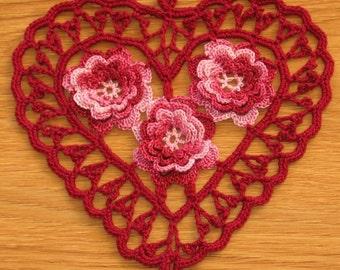 Burgundy Heart with 3D Red Roses, Irish Crochet Heart, Heart Doily, Heart Pendant, Crochet Heart Applique, Fiber Art Heart - Handmade