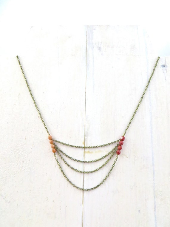 Layered Chain Necklace / Asymmetrical Jewelry / Simple Necklace / Boho Necklace / Dainty Necklace / Gift Under 30 / Boho Jewelry / Handmade