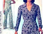 70s Wrap jumpsuit 70s Disco era fever style 1977 retro fashion Vintage Simplicity 7937 sewing pattern Bust 36 UNCUT