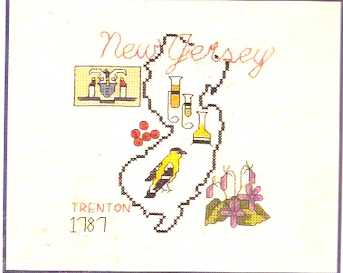 American Heritage New Jersey Map embroidery kit 80s Creative Keepsakes Vintage Crafts Unopened Celebrate your state