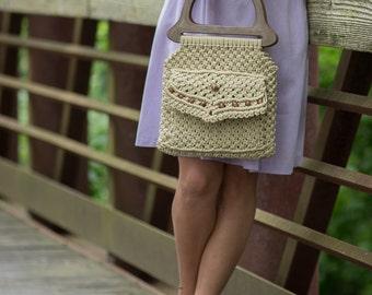Vintage Macrame Hand Bag