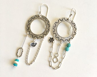Dream Catcher, Charms, Asymmetrical earrings in silver with Turquoise and bone. mismatched