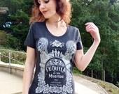 Tequila T-shirt, Sugar Skull Shirt - Day of the Dead T-shirt - Tequila de los Muertos Women's T-shirt - Speculative Spirits