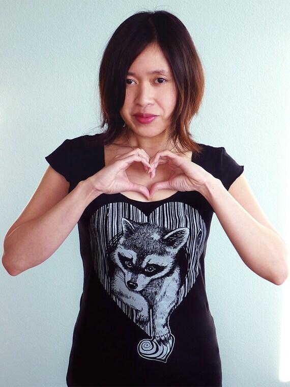 Raccoon Shirt, Woodgrain Heart Tshirt, Vegan Shirt, Wife Gift, Wooden Anniversary Gift - Thief of Hearts Women's Tshirt