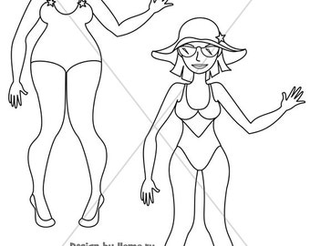 Digital Stamp, Digi Stamp, coloring page - Girl in swimsuit