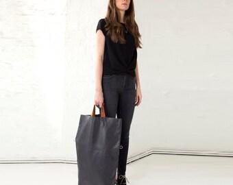 Nicole - Handmade Oversized Charcoal Grey Leather Tote Bag SS16