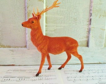 Vintage Plastic Flocked Deer