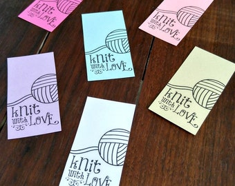 Printable PDF Tags - Knit with Love Labels or Stickers