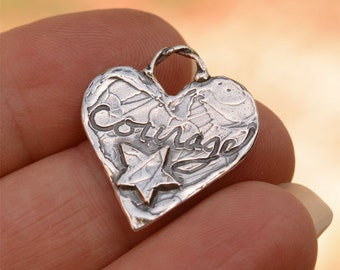 Courage Heart Charm in Sterling Silver, H-447, Heart with Star