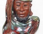 African Buddha Wall Hanging Raku Ceramics Sculpture