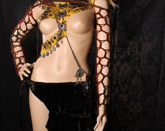 Fishnet Arm Warmers. Crochet long Sleeves, Brown Black Apocalypse Shrug, Tribal Belly Dance, Gothic Summer Fashion, Wasteland Sleeves