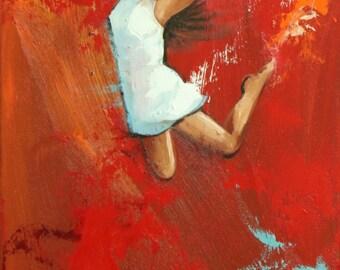 Leap painting 502 12x24 inch original portrait figure oil painting by Roz