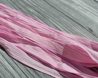 LIGHT PINK Silk Ribbons Hand Dyed Sewn Qty 5 Strings, Crinkle Silk Ribbons, Raspberry Pink, Great Silk Bracelet Wraps Necklaces or Crafts