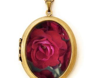 Sensual World Floral Locket - Photo Locket - Red Rose Flower Photo Locket Necklace