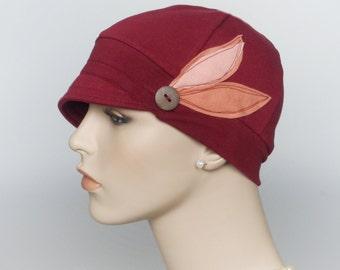 Chemo hats for hair loss, cancer headwear, trichotillomania, women accessories, lupus headwear, soft alopecia hats, woman burgundy chemo cap