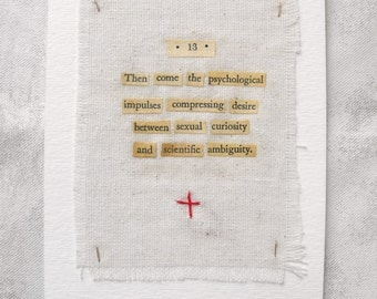 Mixed Media Collage Art Original ~ Fabric, Paper, vintage text, hand stitching ~ Psychology Series ~ Experimental Art by Luluanne