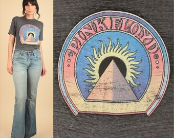 RARE PINK FLOYD ViNtAgE T-Shirt 70's Tee Threadbare Distressed 60's Rock Black Sun Pyramid Graphic Colorful Psychedelic M/L